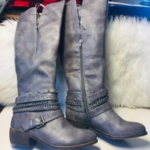 Shoes - Women's Gray Riding Boots